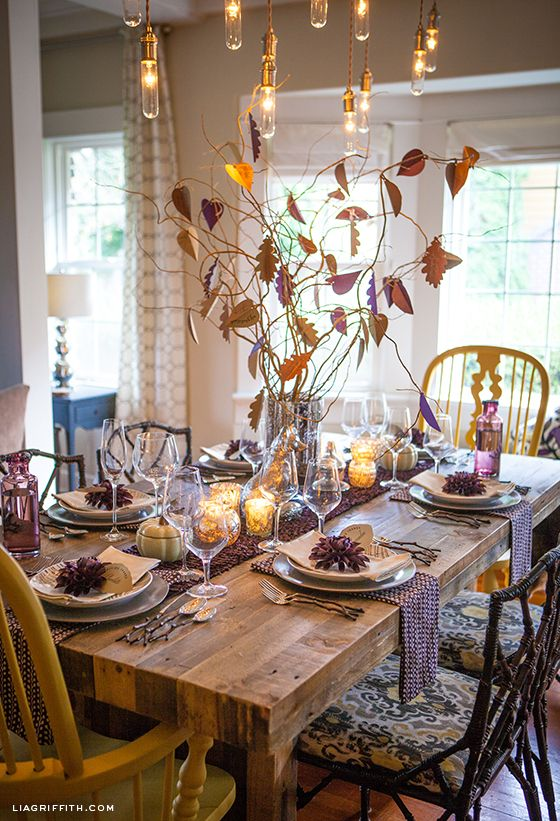 Lia Griffithu0027s Thanksgiving Table with place settings from West Elm and DIY paper decor with free printable templates & Thanksgiving Table Ideas and Leaf Place Card Printable ...