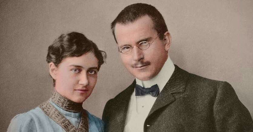Carl Gustav Jung with his wife Emma, 1903. Colorized by Vera Zvereva with CODIJY software. www.codijy.com #codijy #colorization #colorizedphoto #colorized #photography #photo #oldphoto #vintagephoto #vintage #color #colored #blackandwhite #sepia  #history #historical #woman  #man #family #wife #husband #carljung #swiss #psychological #psychiatrist #psychology #1900s #1903