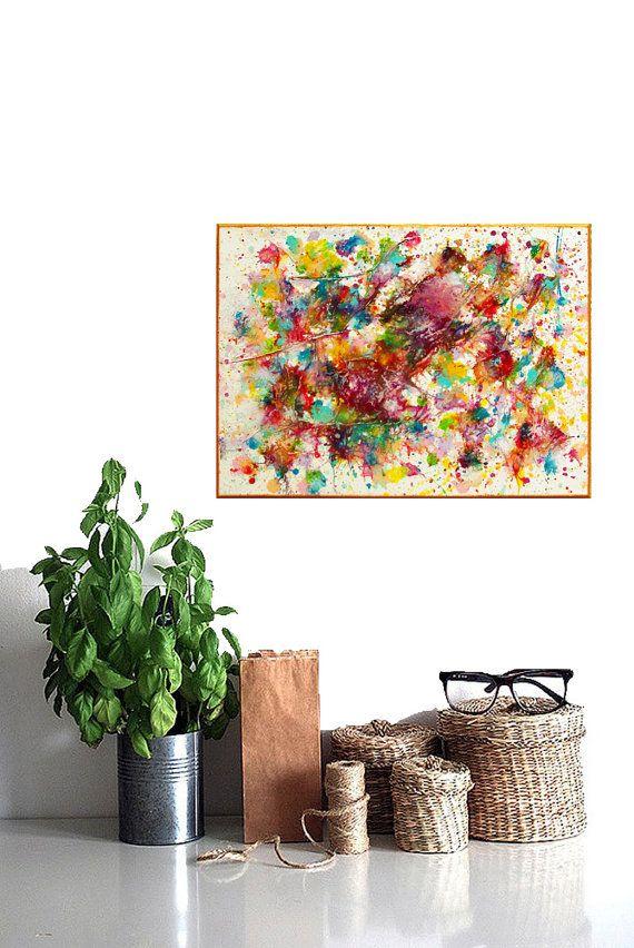 art abstrait peinture acrylique coloré original peinture