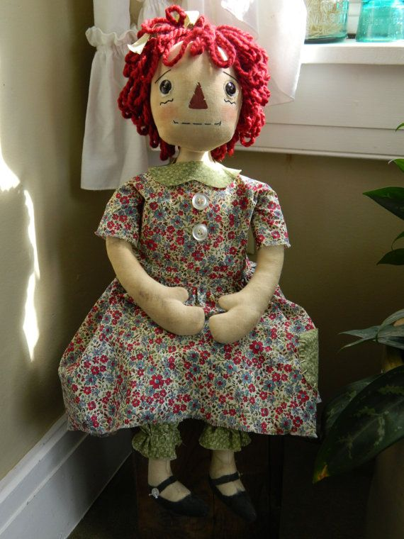 Adorable Artist signed Primitive Raggedy Ann Doll by mycountrykind