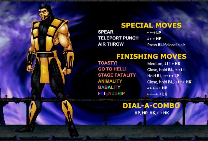 Lista De Movimiento Scorpion Mk3u Trilogy Mortal Kombat Friendship