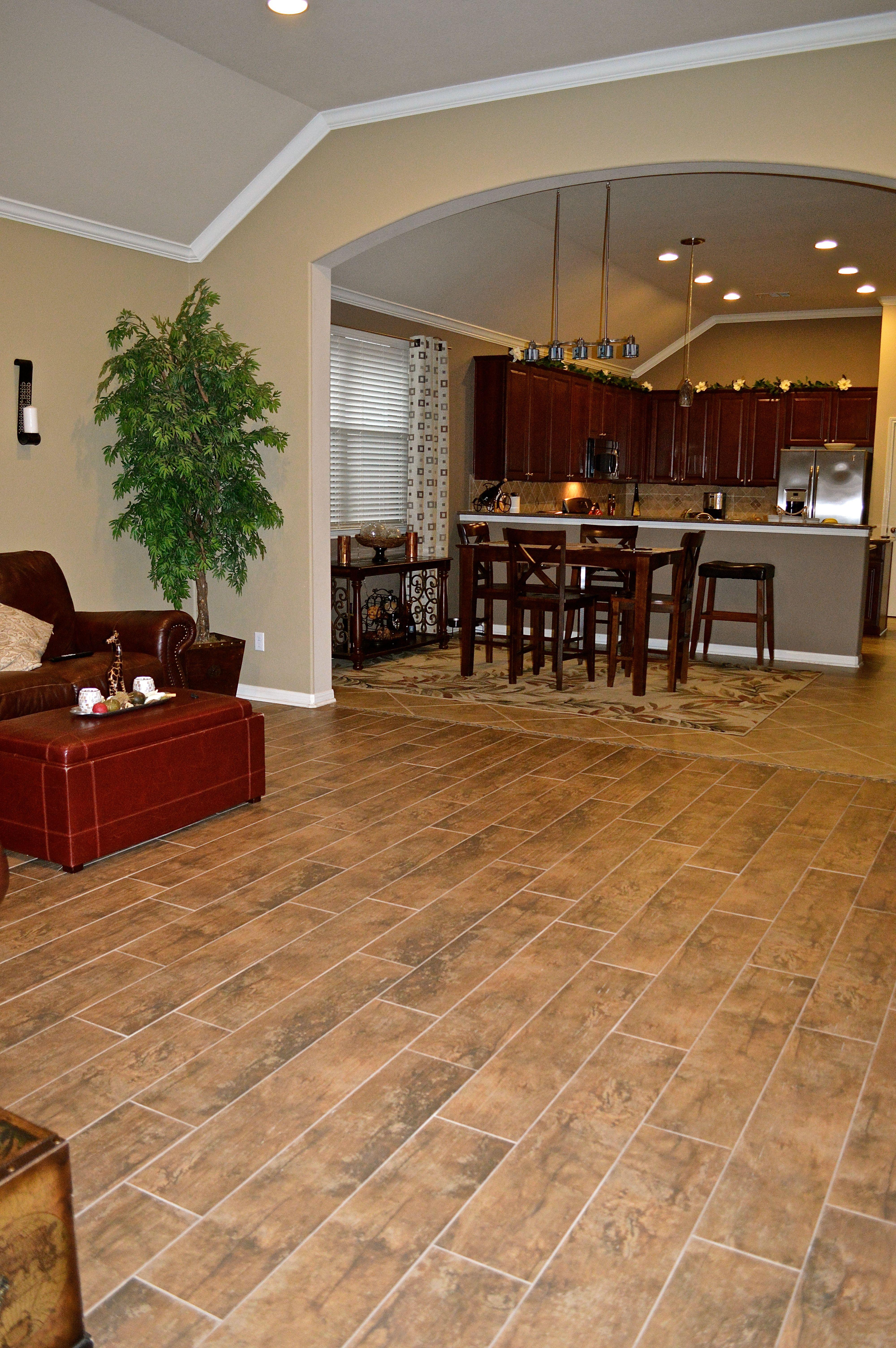Porcelain tile that looks like wood planks. Looks amazing