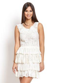 robbi & nikki ivory lace layered dress