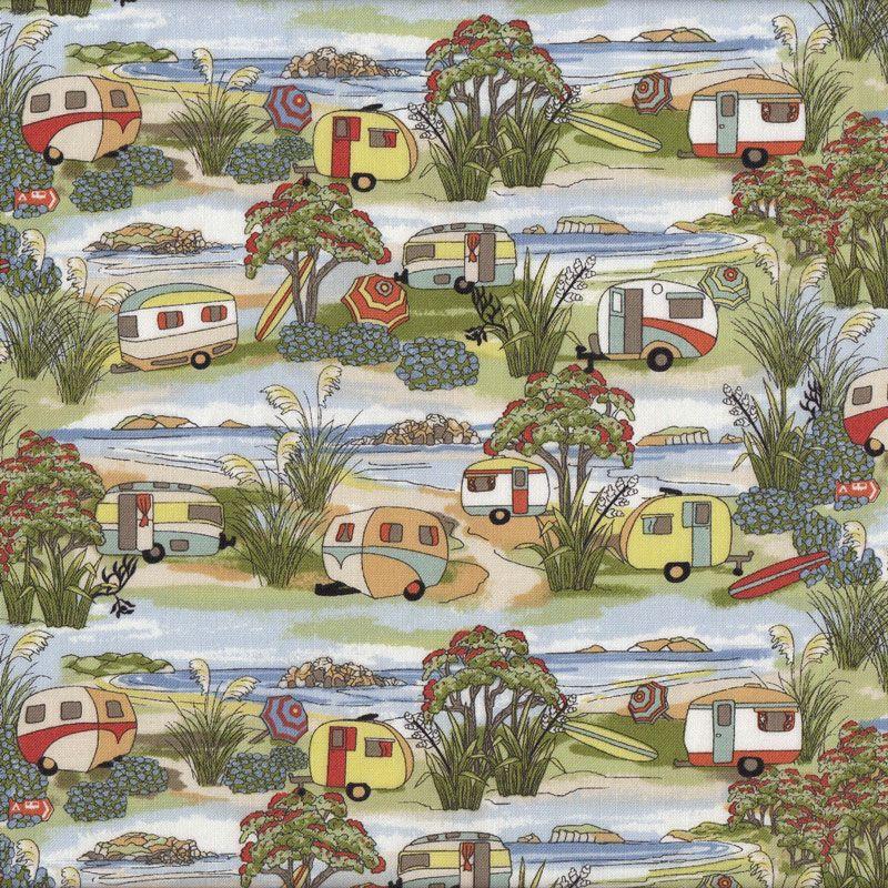 Retro Caravans Holiday Beach Landscape New Zealand NZ Quilt Fabric ... : quilting fabric nz - Adamdwight.com