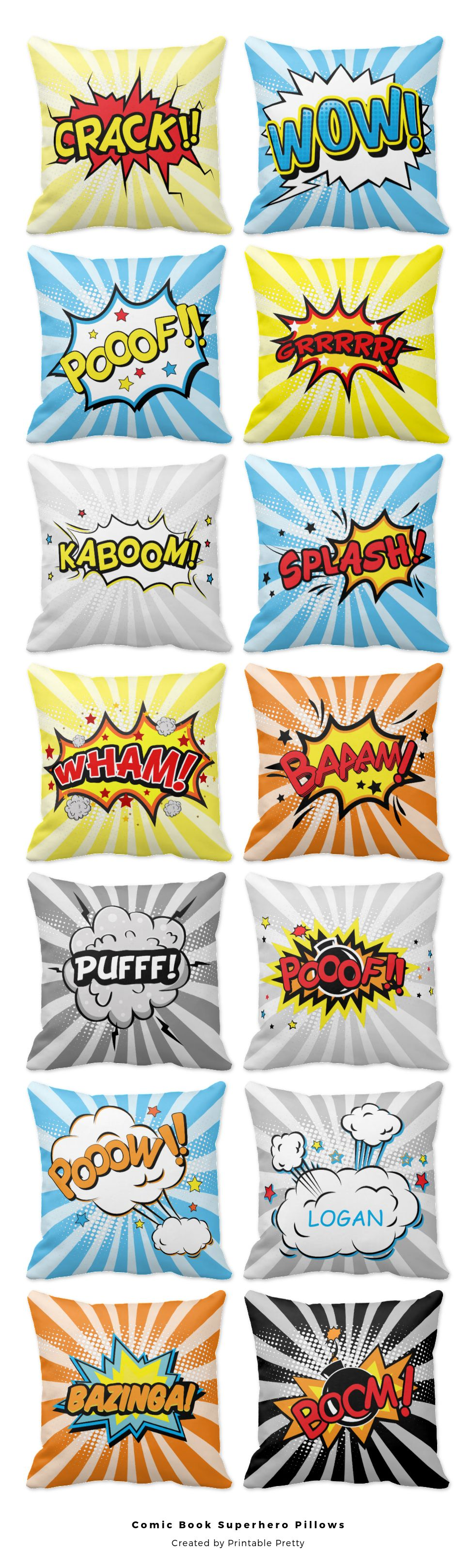 Adorable comic book super hero throw pillows with comic book sayings, halftone dots, and light rays. Super cute for a superhero kids bedroom! ♥ Pinnable image courtesy @ohsoprettypaper