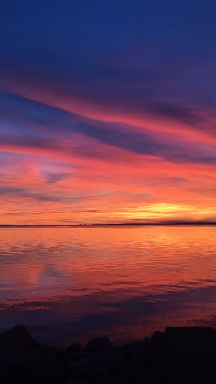 Iphone Wallpaper Sky Afterglow Horizon Red Sky At