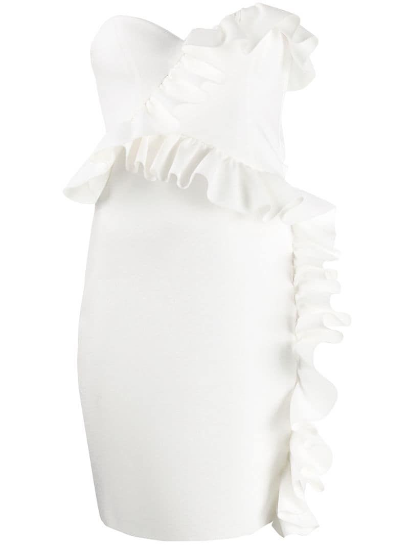 Msgm Ruffled Strapless Dress Farfetch Strapless Ruffle Dress Strapless Dress Dresses [ 1067 x 800 Pixel ]