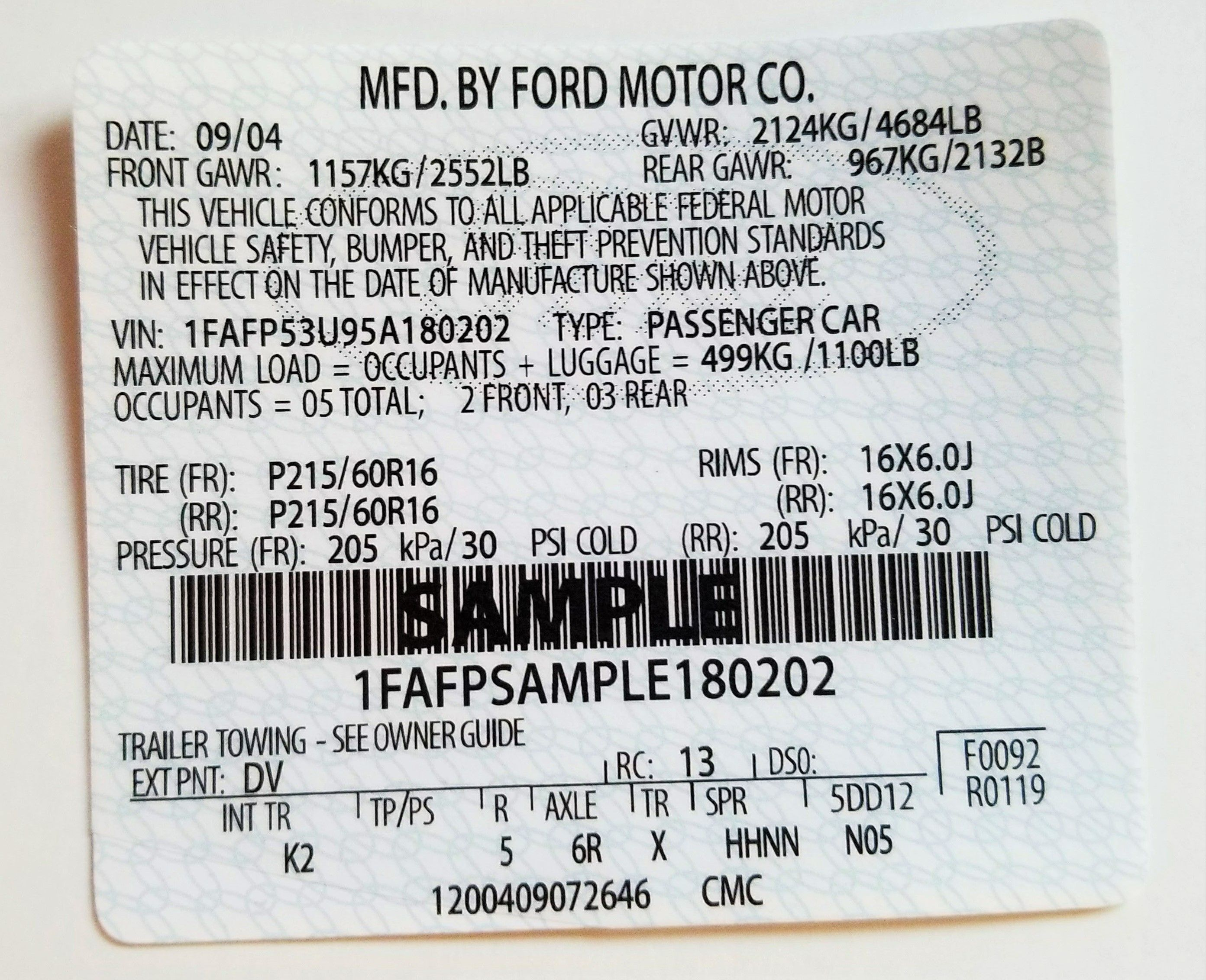 Ford Mustang Vin Label Vin Labels Theft Prevention