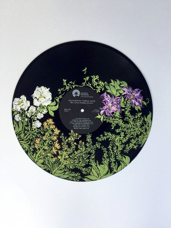 Enchanted forest nature inspired art floral music wall art hand painted record