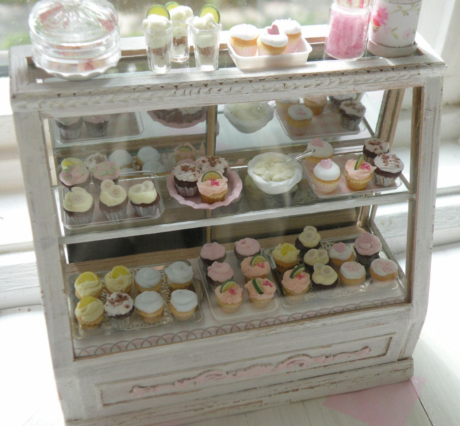 miniature stunning shabby chic bakery counter. Black Bedroom Furniture Sets. Home Design Ideas