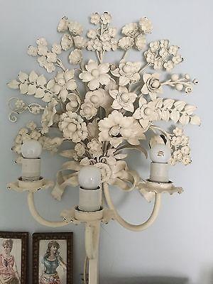 Große Florentiner Wandlampe Shabby Chic Blüten Weiß | chandelier ...