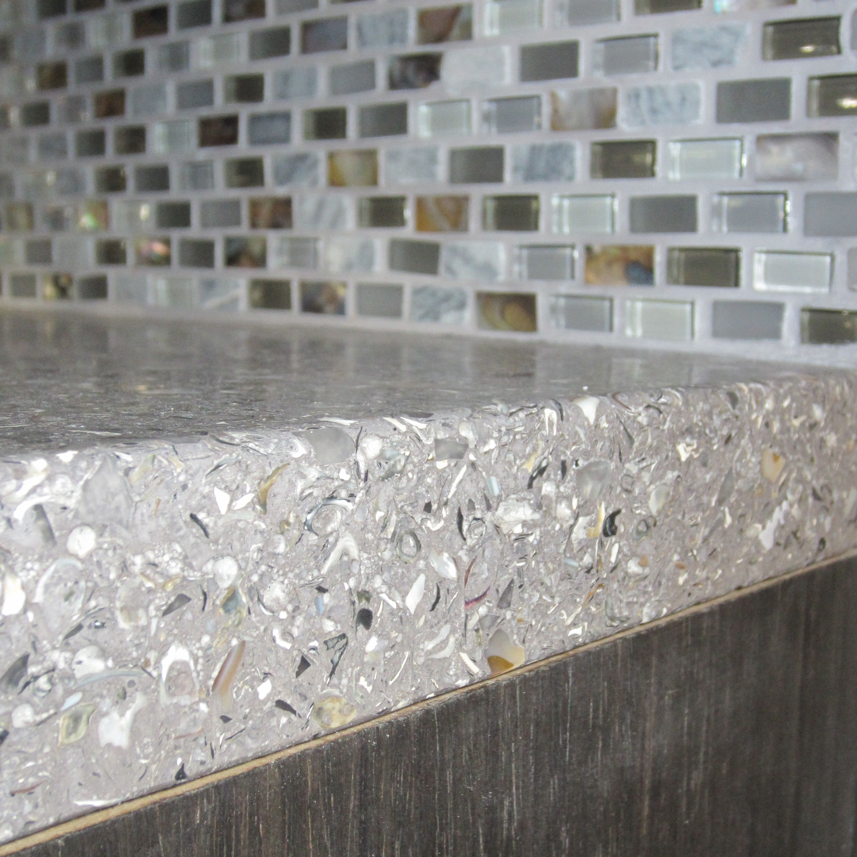 Concrete Mixed With Oyster Shells Countertop And A Recycled Gl Back Splash Inhabiture Design
