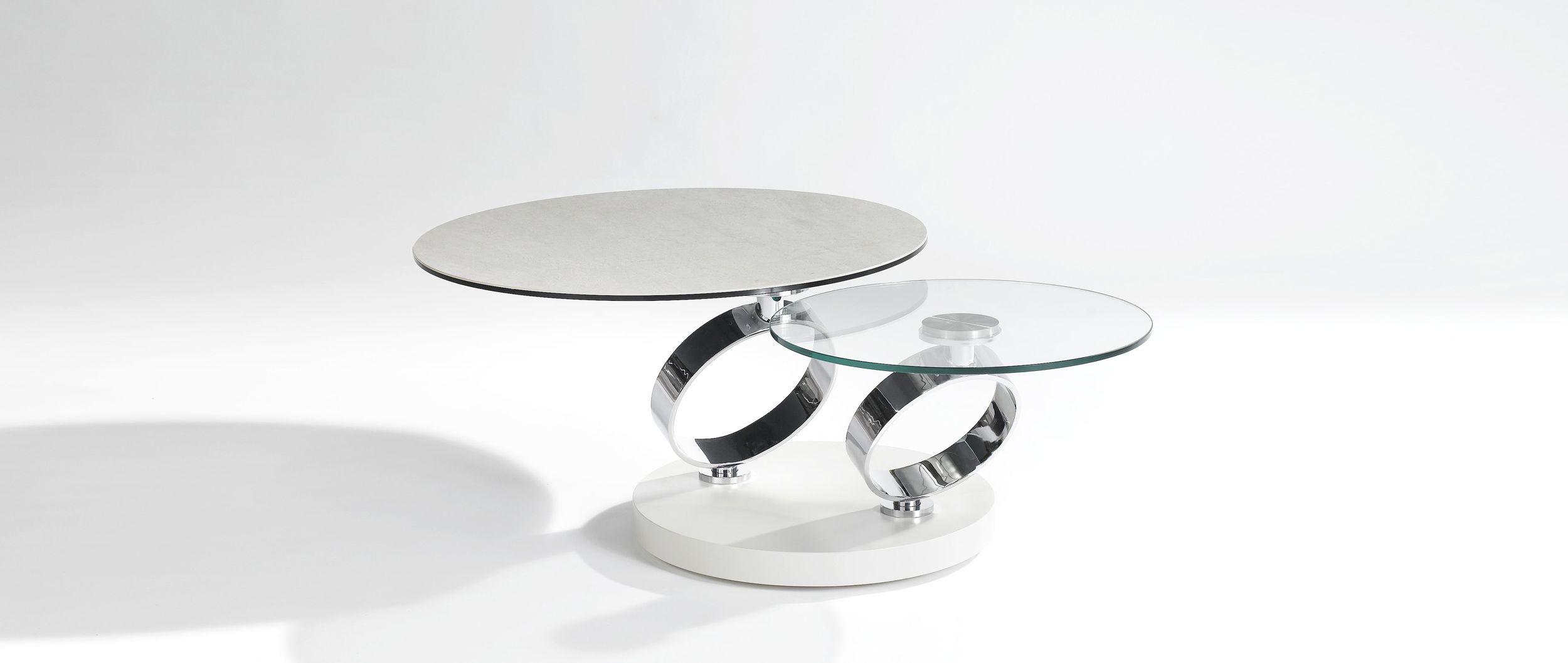 table basse anelli plateaux ceramique et verre trempe 10 mm