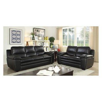 Peachy Iohomes Bonelli Contemporary Leatherette Love Seat Black Gamerscity Chair Design For Home Gamerscityorg