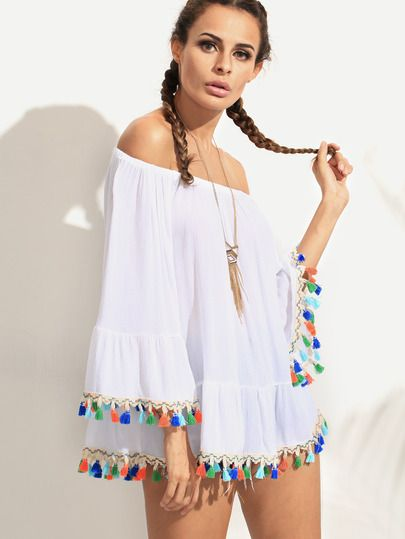 930254651ce8 White Off The Shoulder Bell Sleeve Tassel Trimmed Dress