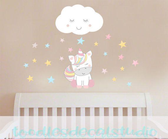 Unicorn Wall Decal Magical Unicorn Fabric By ToodlesDecalStudio