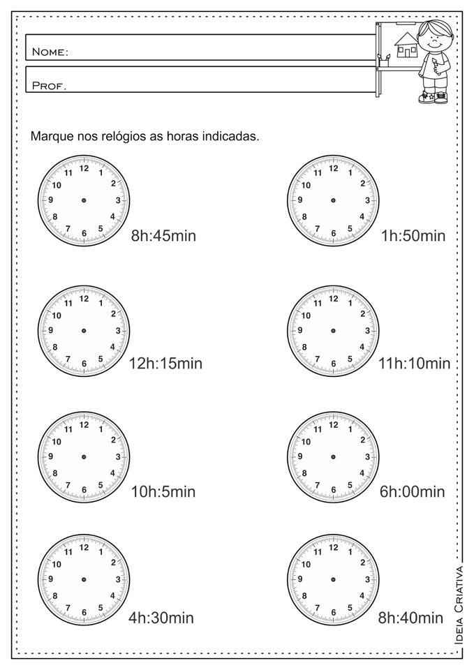 Atividade Horas Atividades De Matematica Atividades Medidas De