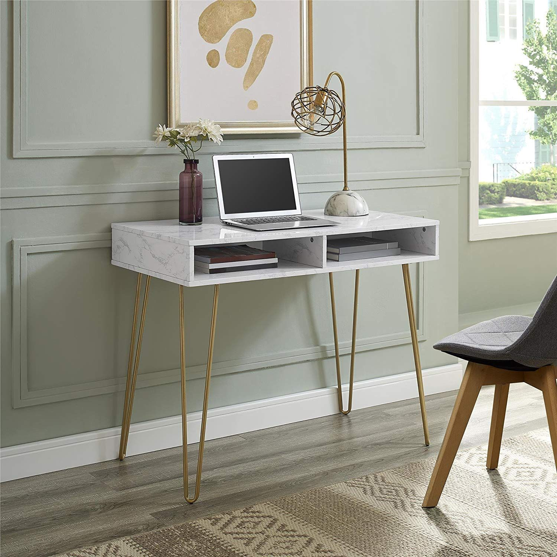 Novogratz Athena Computer Desk With Storage White Marble Desks For Small Spaces Marble Desk Furniture