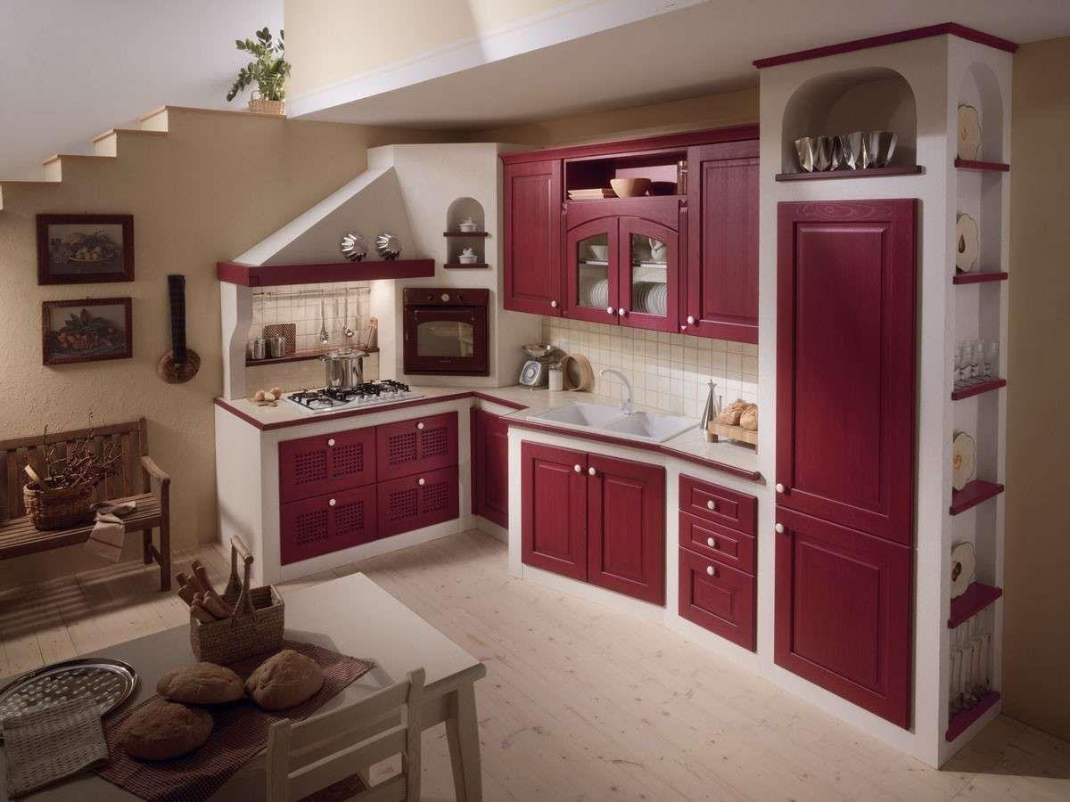 Cucine in muratura rustiche e moderne - Cucina in muratura, bianco per un eff...