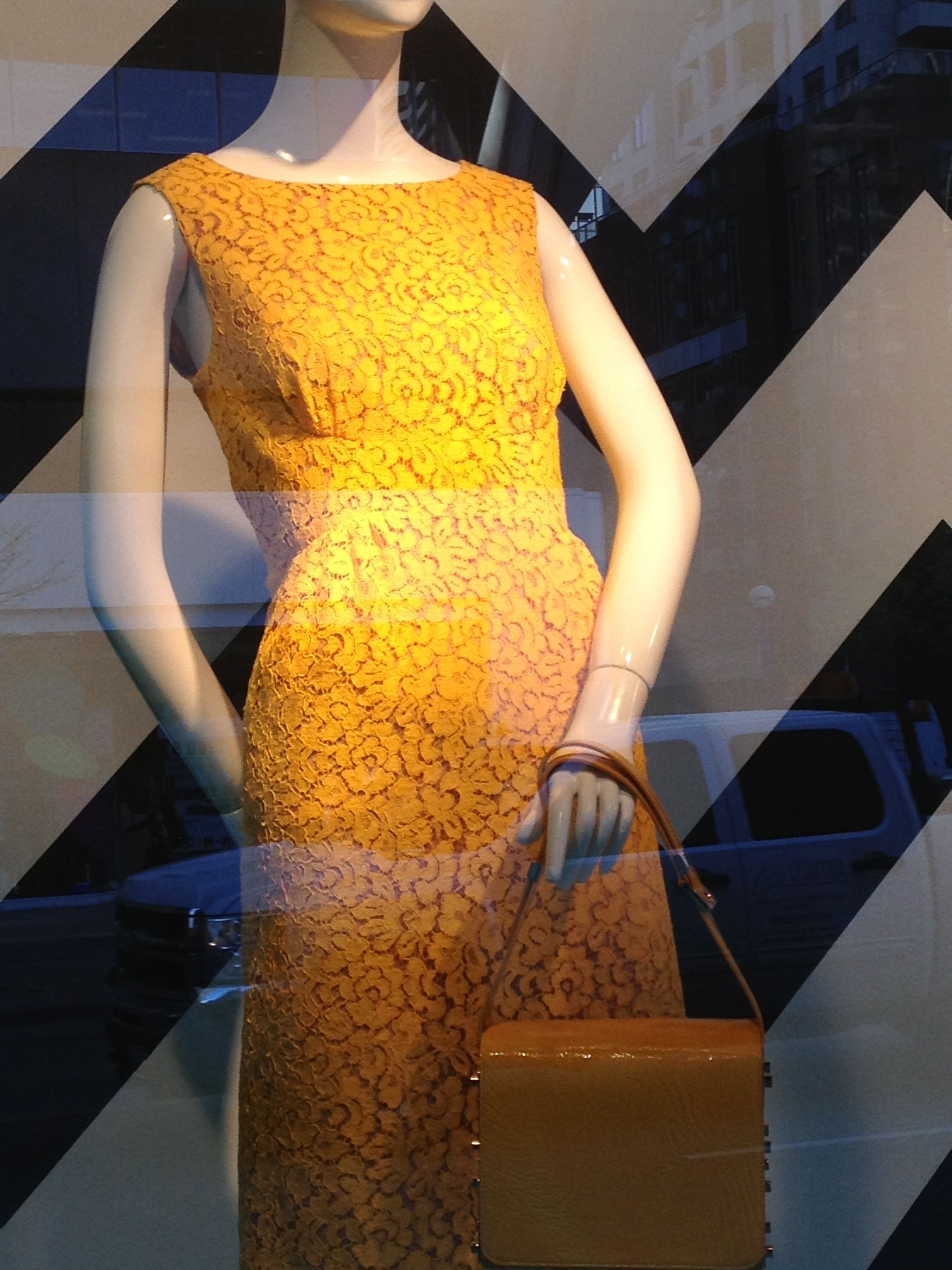 The bust dart on this dress is wonderful (window at Holt's)