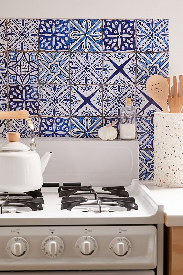Blue Azulejos Kitchen Tile Decal In 2020 Tile Decals Kitchen Tile Counter Decor