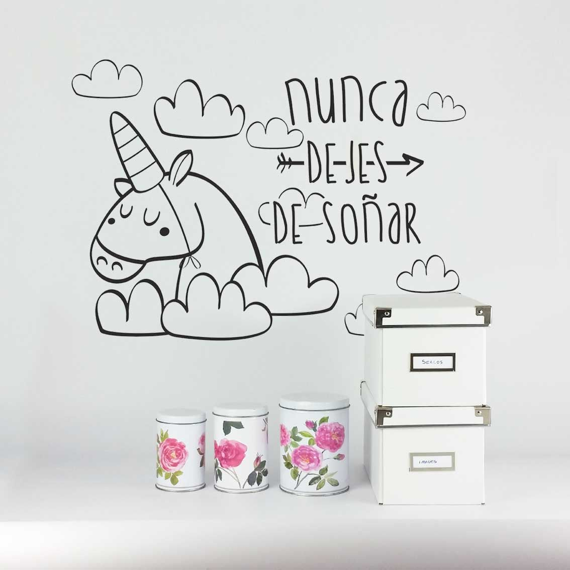 Vinilo decoraci n pared pegatina habitaci n infantil for Cuarto de unicornio