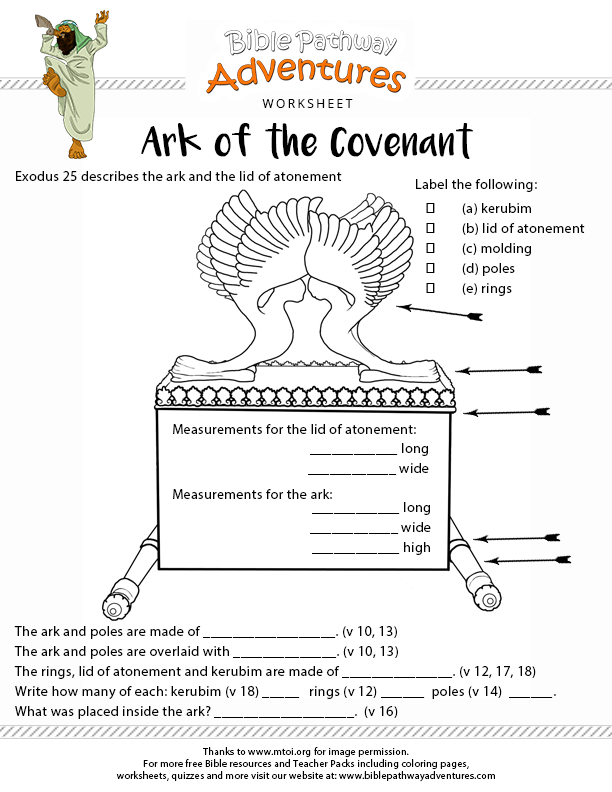 Ark Of The Covenant Bible Worksheet