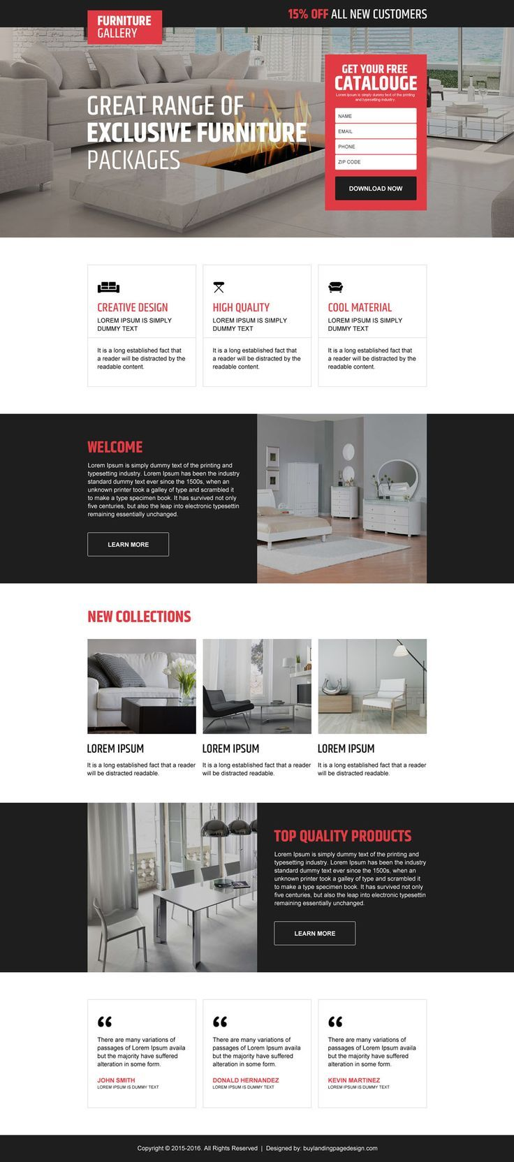 Interior and furniture landing page design templates