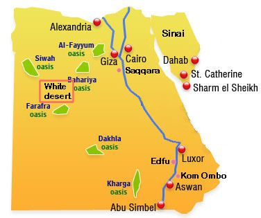 Map Of The White Desert Egypt Geography Pinterest Geography - Map of egypt oasis