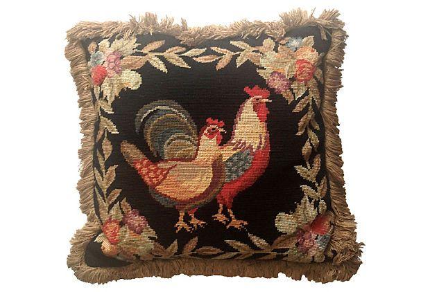 Needlepoint Rooster Pillow On Onekingslane Com Pillows