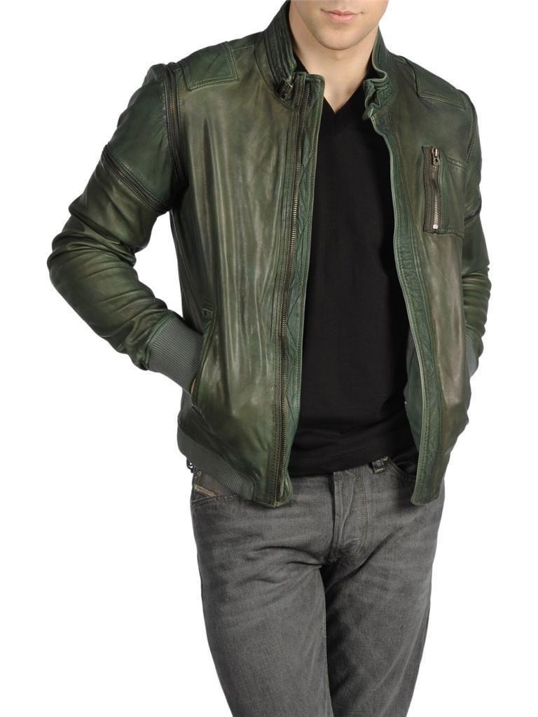 ed63b5af2 Men s Diesel LIMISS Green Leather Jacket Small RRP £602 coat veste ...