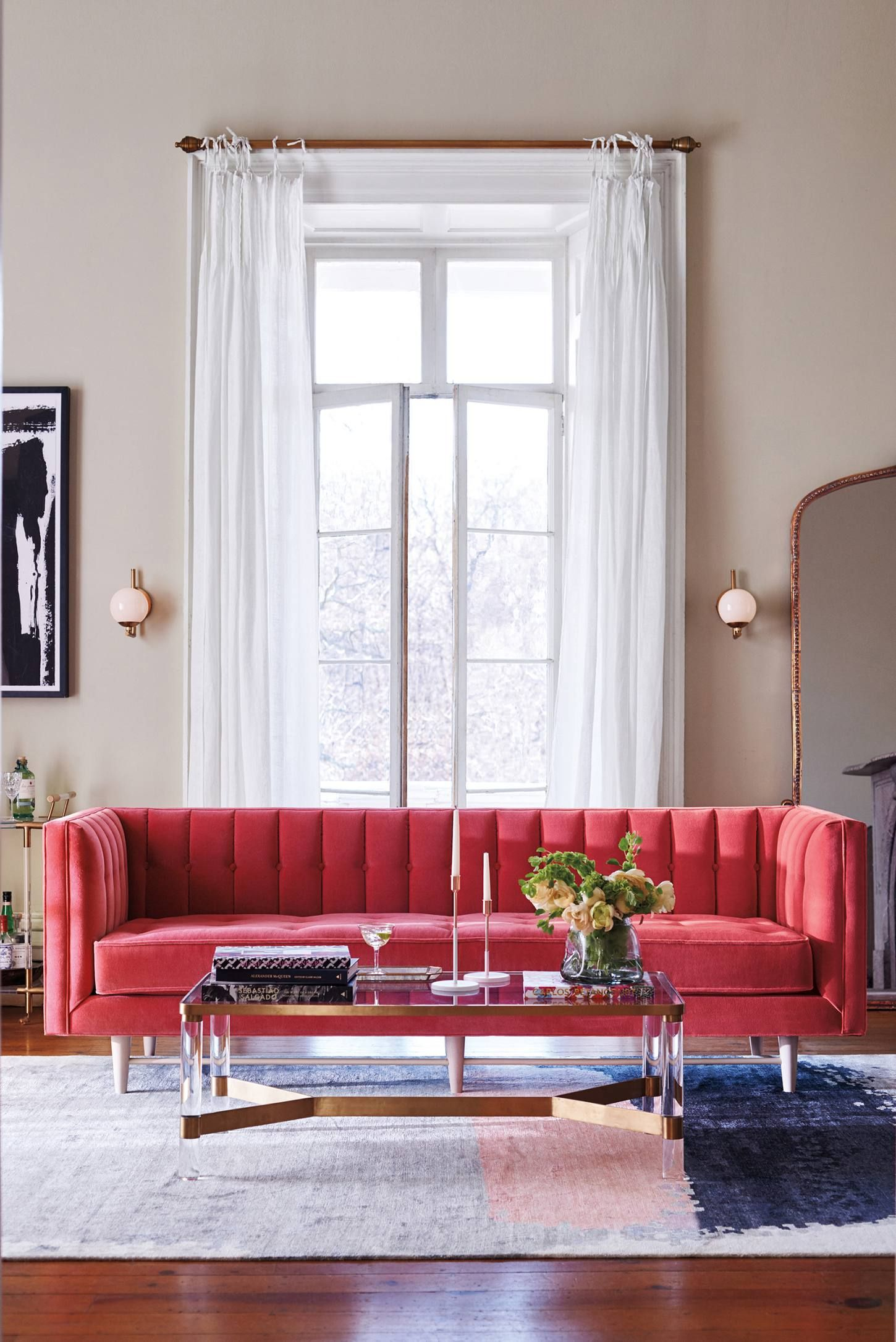 Anthropologie   Pink Velvet Sofa   Home Decor Loves   Pinterest ...