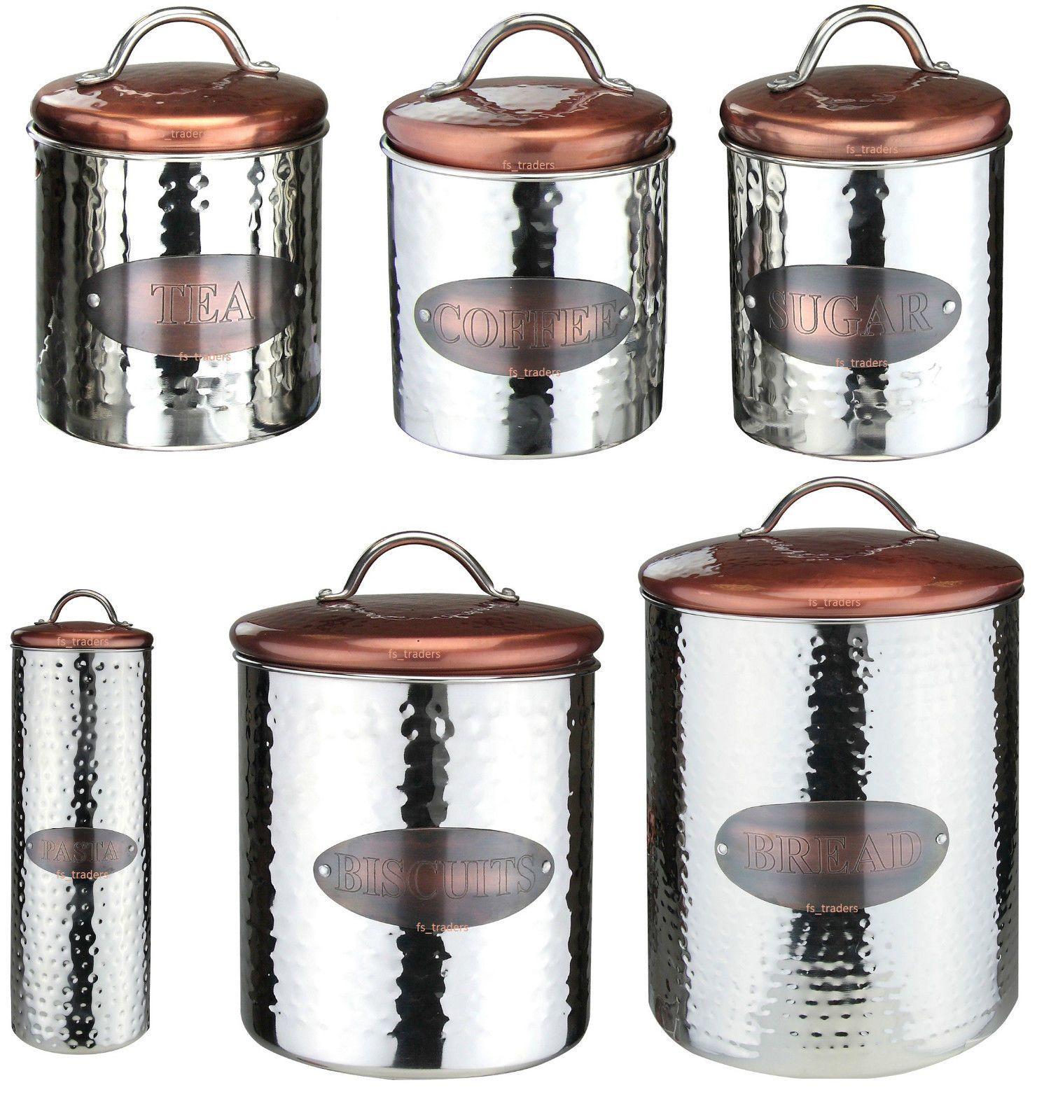 S//3 Copper /& White Tea Coffee Sugar Kitchen Storage Canister Container Jar Tins