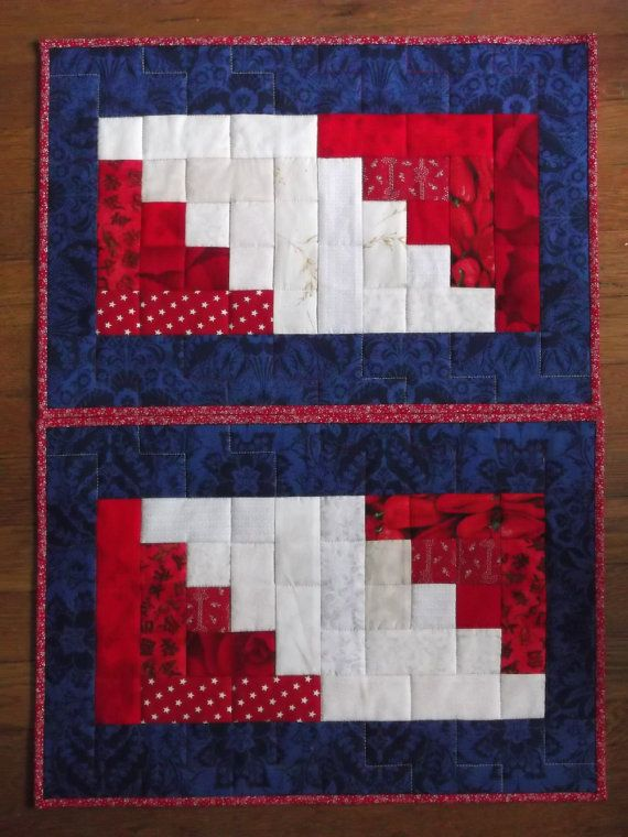 Quilted Red White On Blue Log Cabin Placemats Set Of 2 Etsy Small Quilt Projects Small Quilts Placemats