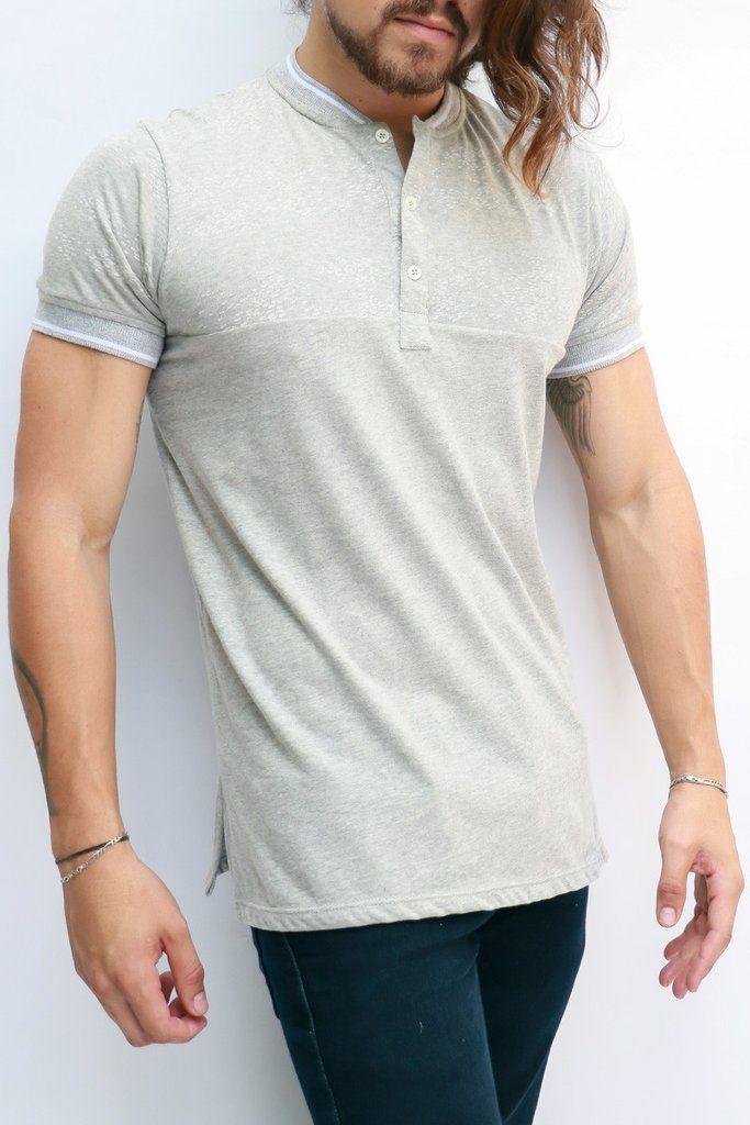 4fc33ec291e4c Camisetas Para Hombre - Camiseta Tipo Polo Gris Claro -IAN – urbanwearco