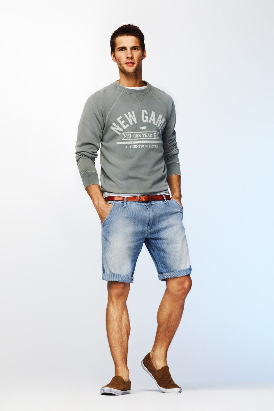 4807004cc2 look: grey sweater + denim shorts + brown slip-on shoes | Great look for  summer breeze.