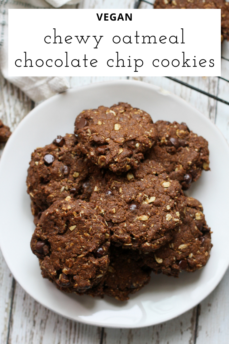 Vegan Oatmeal Chocolate Chip Cookies Noshin Num Nums Recipe In 2020 Chewy Oatmeal Chocolate Chip Cookies Chocolate Chip Oatmeal Oatmeal Chocolate Chip Cookies