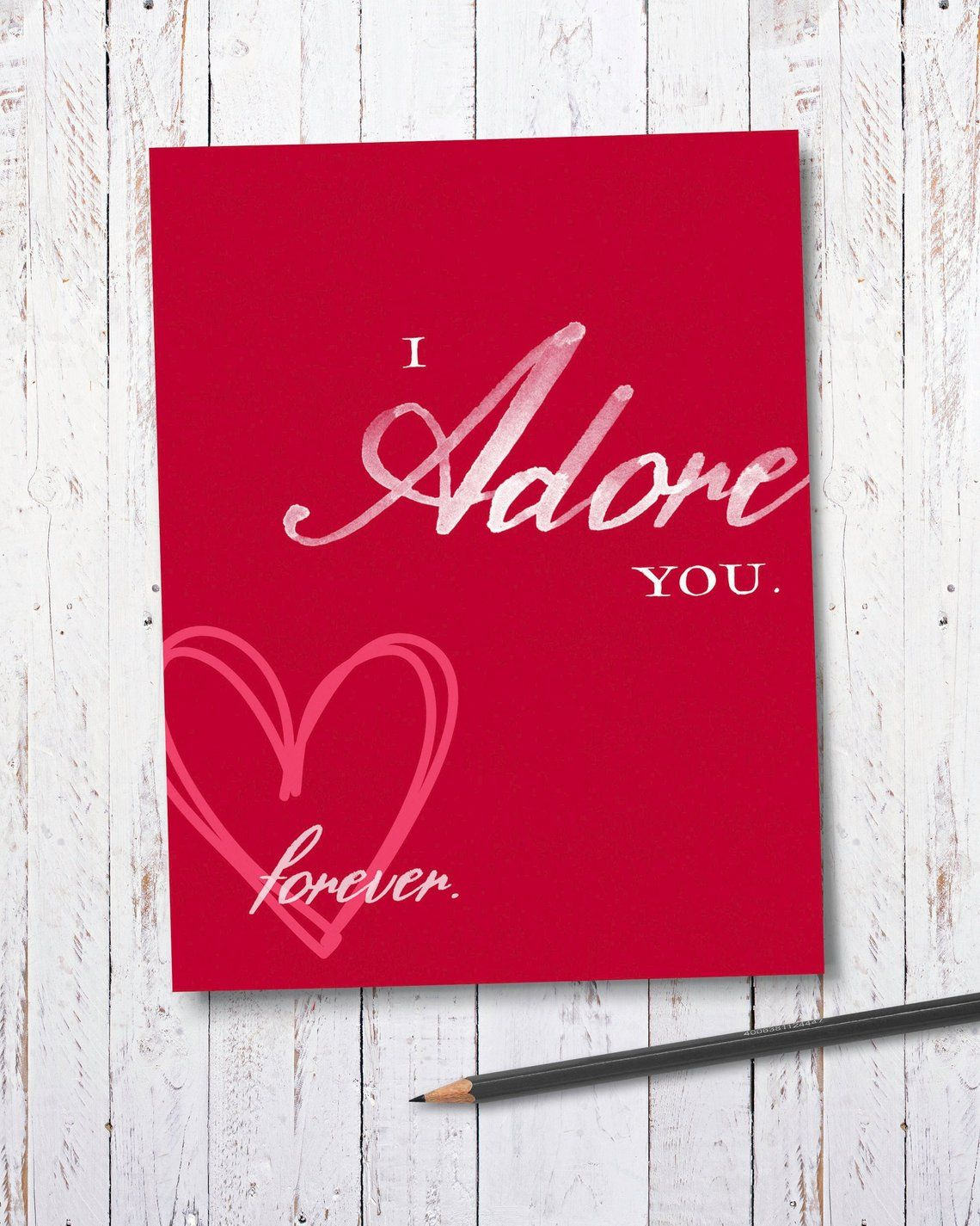I adore you valentines card for her valentines day card