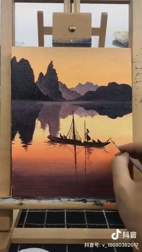 Beautiful Evening Scenery Painting