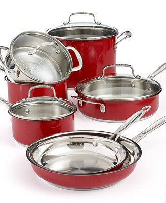 Cuisinart Chef S Classic Stainless Steel Metallic Red 11 Piece Cookware Set Cookware Set Cookware Sets Cuisinart Cookware Cuisinart 11 piece cookware set