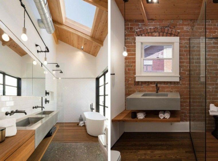baño moderno al estilo minimalista con pared de ladrillo Casa