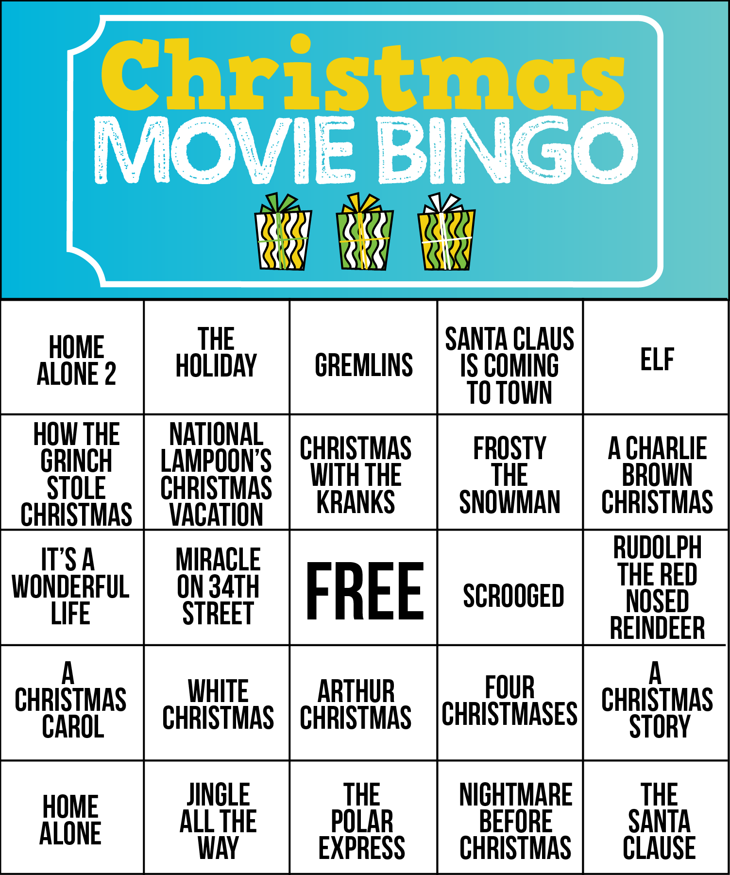 Free printable Christmas movie bingo cards | Christmas games ...