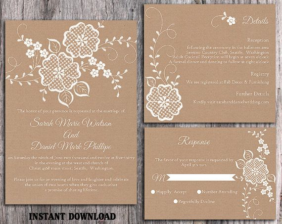 Lace Wedding Invitation Template Download Printable Invitations Boho