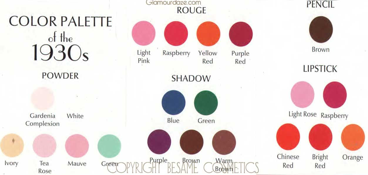 Elegant 1930s Make Up Colours