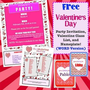 Free Valentine Party Name Plate And Class List Templates Word Valentines Party Valentines Class Party Valentine List
