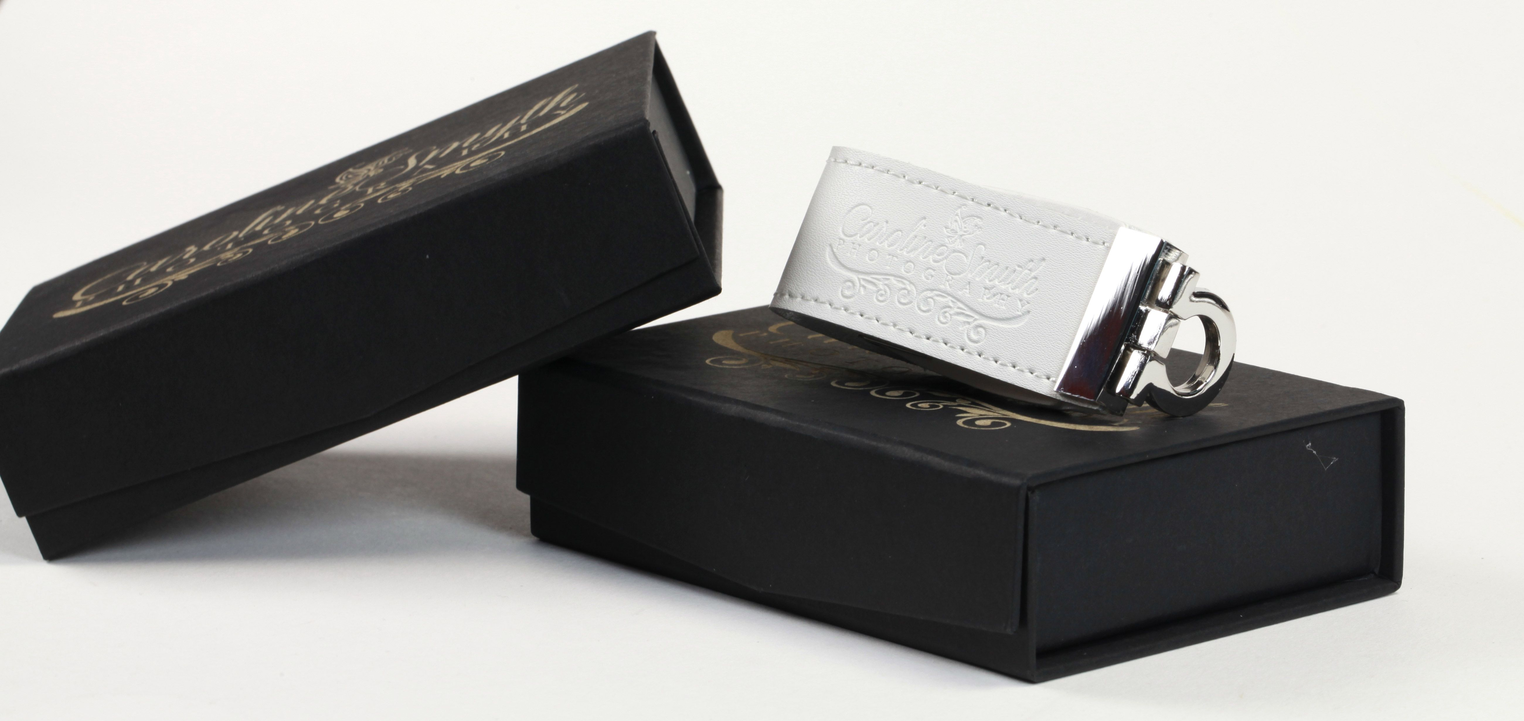 Wedding Photography Presentation Boxes: Ou Black Engraved USB Gift Box Shown Here With Our Premium