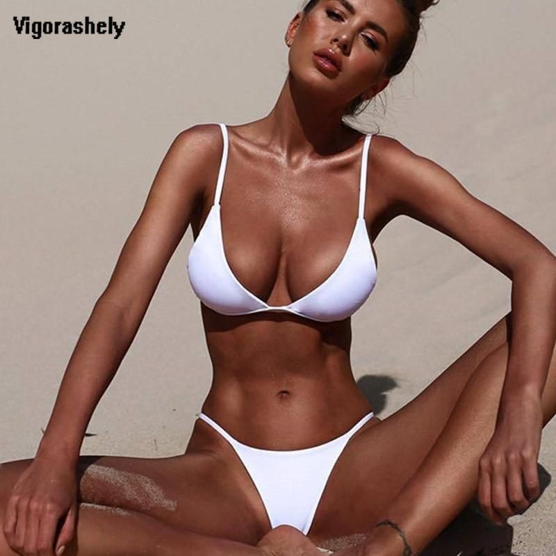 9d10726b11018 Vigorashely 2019 White Sexy Bikini Set Women Swimsuit Low Waist Push Up  Swimwear Brazilian Bikini Beach Bathing Suit Swim Wear