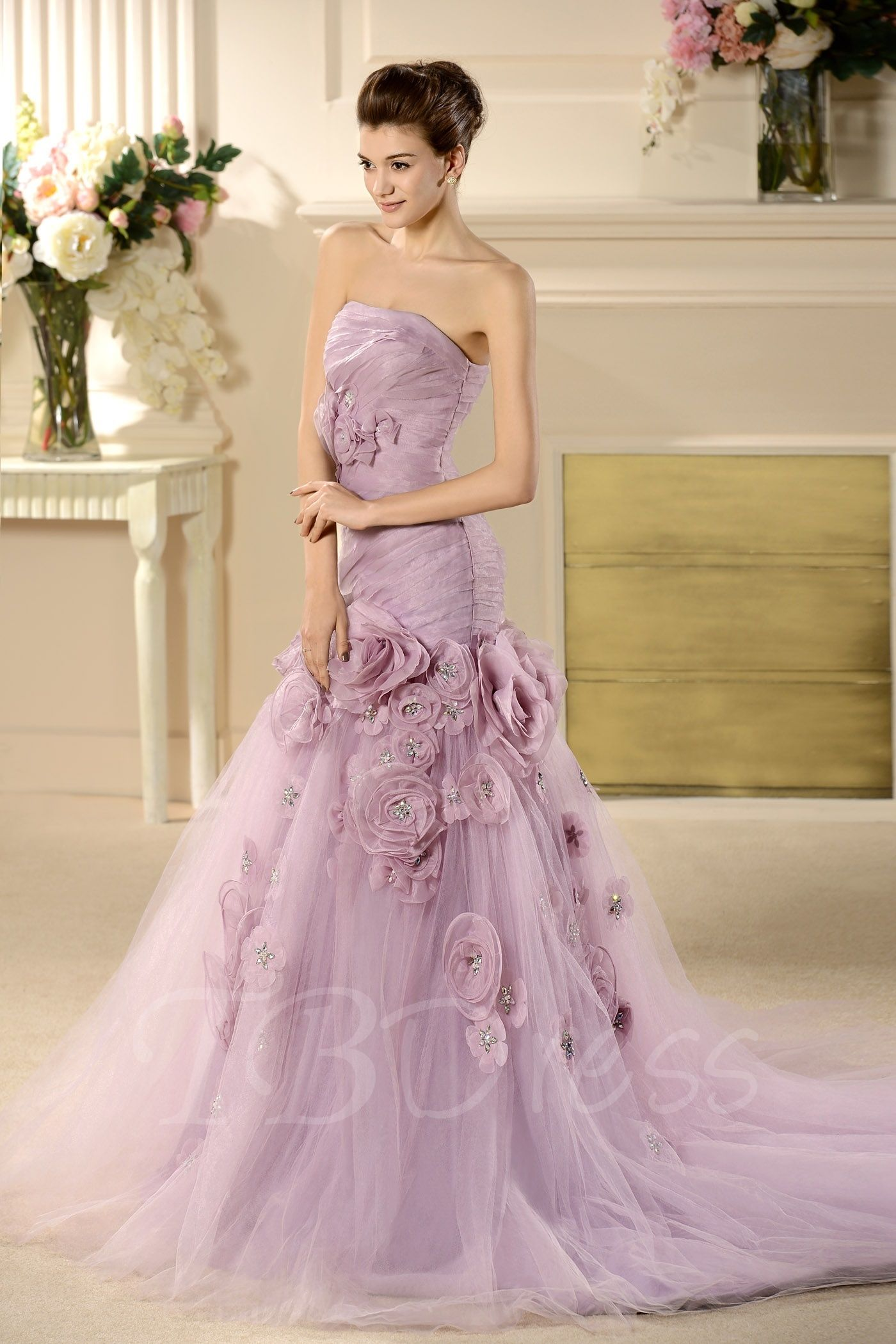 W176 Strapless Mermaid Long Wedding Bridal Gowns,Handmade