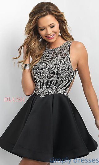 BL-IN-220 - Open-Back Short Party Dress from Intrigue by Blush ...
