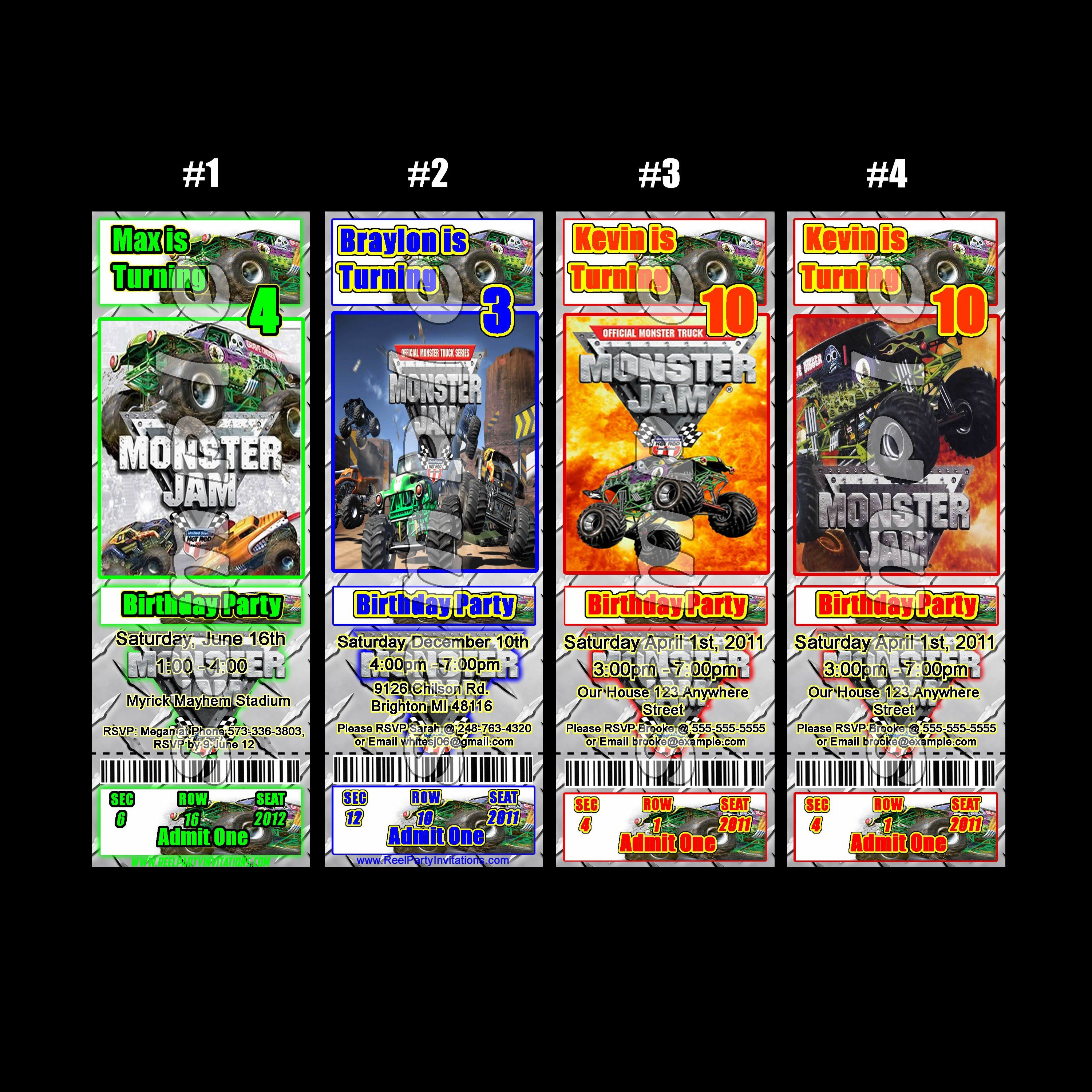 Monster Jam Ticket Style Personalized Party Invitations - $5.99 ...